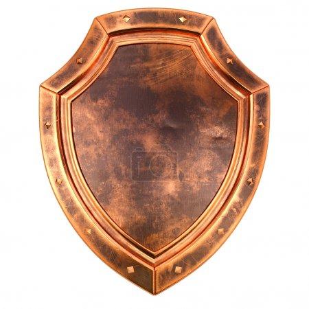 Photo pour Ancien bouclier de bronze antique. isolé sur fond blanc. - image libre de droit