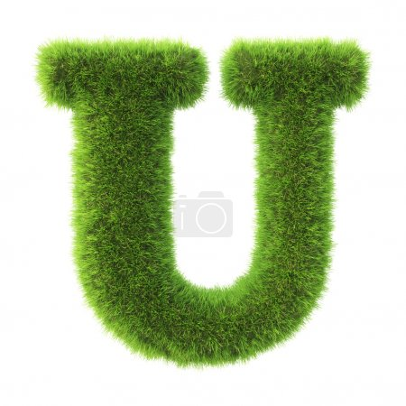 Letter made from green grass