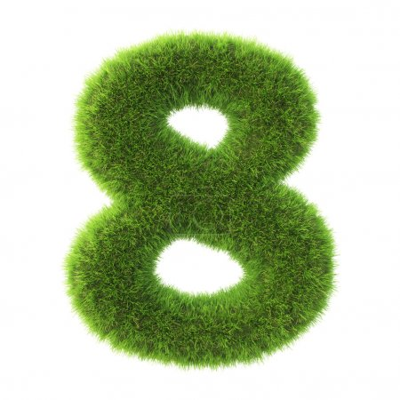 number made from green grass