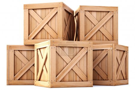 Wooden boxes on white background