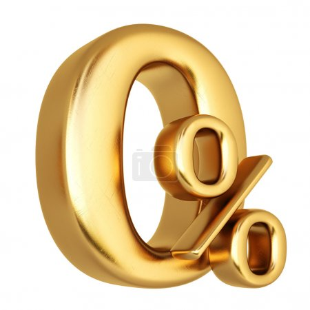 symbol of zero percent made from gold