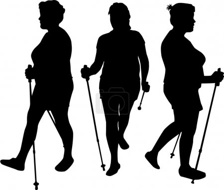 Illustration for Vector silhouette of women with Nordic walking. - Royalty Free Image