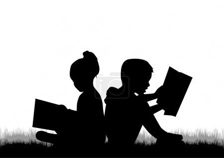 Children reading the book....