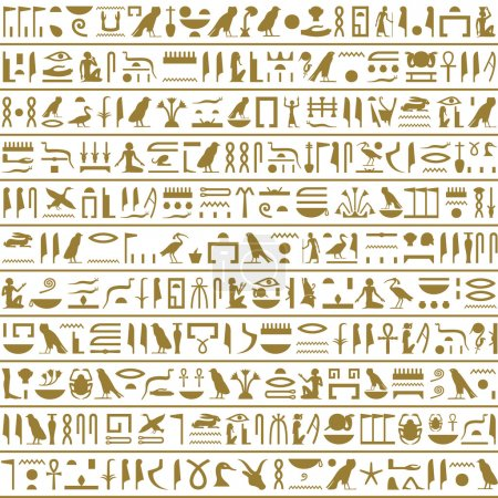 Ancient Egyptian Hieroglyphs Seamless Horizontal....