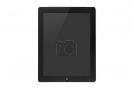 Black touch screen tablet in iPad style with blank screen area f