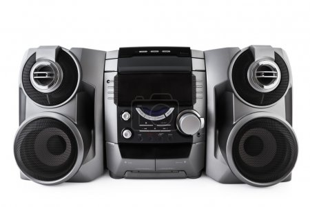 Compact stereo system cd and cassette player isolated with clipp