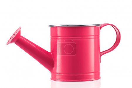 Pink watering can isolated on white