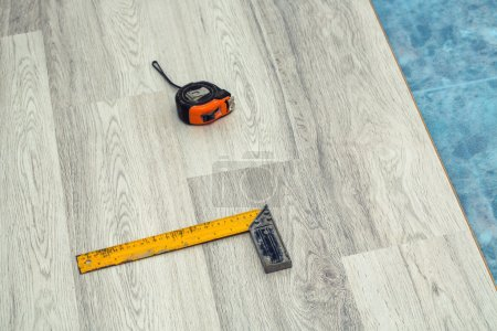 Photo for Floor panels, parquet, laminate, wood flooring and tools - Royalty Free Image
