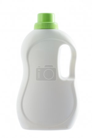 Photo for White plastic bottle of a washing detergent isolated on a white background - Royalty Free Image