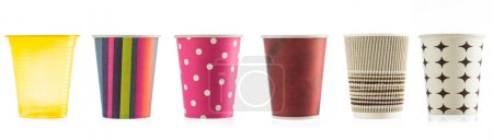 Photo for Colorful Paper Disposable Cup Close up, studio isolated on white background - Royalty Free Image