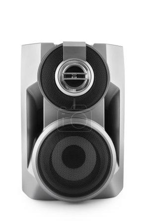 Photo pour Haut-parleur noir isolé sur blanc avec chemin de coupe - image libre de droit