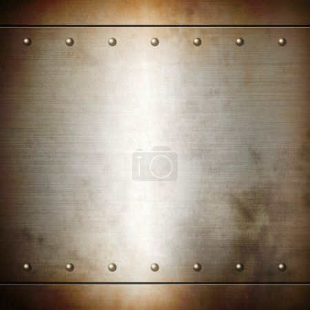 Photo pour Rusty steel riveted brushed plate background texture. Metal frame background - image libre de droit