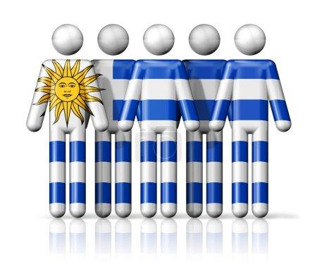 Photo pour Drapeau de l'Uruguay sur la figure bâton - symbole de la communauté nationale et sociale icône 3D - image libre de droit