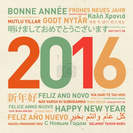 Photo for Happy new year vintage card from the world in different languages - Royalty Free Image