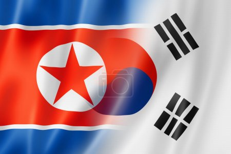 North Korea and South Korea flag