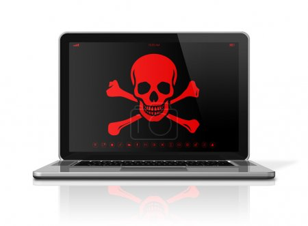 Laptop with a pirate symbol on screen. Hacker concept