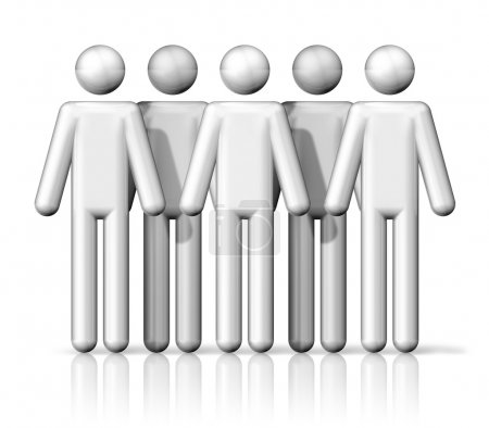 Photo for Three dimensional group of people stick figures - white - Royalty Free Image