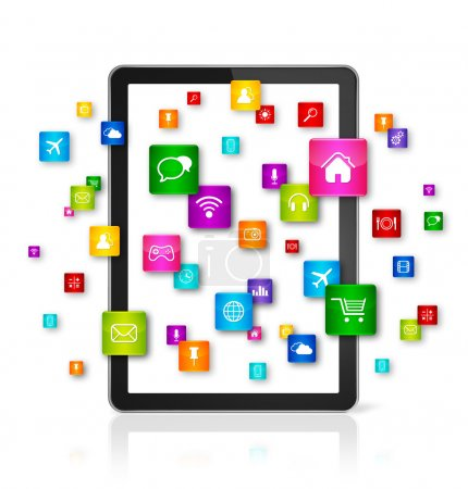 Photo for 3D Tablet PC with flying apps icons - isolated - front view - Royalty Free Image