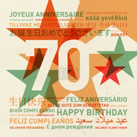 Carte d'anniversaire du 70e anniversaire du monde