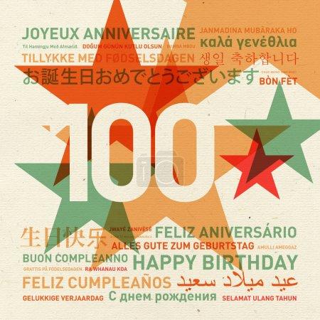 Carte d'anniversaire du 100e anniversaire du monde