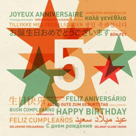 Carte d'anniversaire du 5ème anniversaire du monde