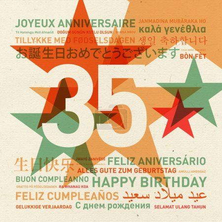 Carte d'anniversaire du 35e anniversaire du monde