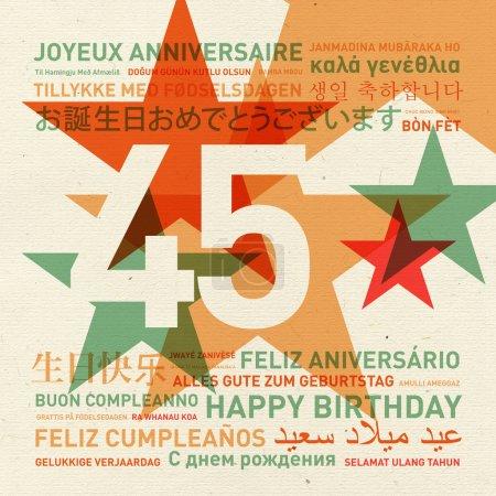 Carte d'anniversaire du 45e anniversaire du monde