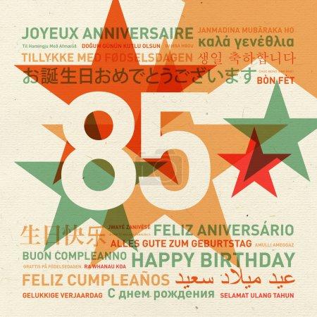 Carte d'anniversaire du 85e anniversaire du monde