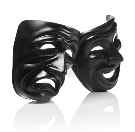 Photo for Generic plastic masks as theatrical symbols isolated on white with reflection, Sadness and Joy masks - Royalty Free Image