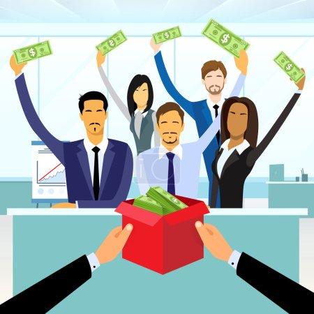 Photo pour Foule de groupe de gens d'affaires financement mis argent Don dans boîte, Concept investisseurs - image libre de droit