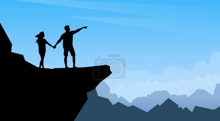 Silhouette Couple Man Woman Traveler Stand On Mountain Cliff Trackers Hickers Over Natural Background