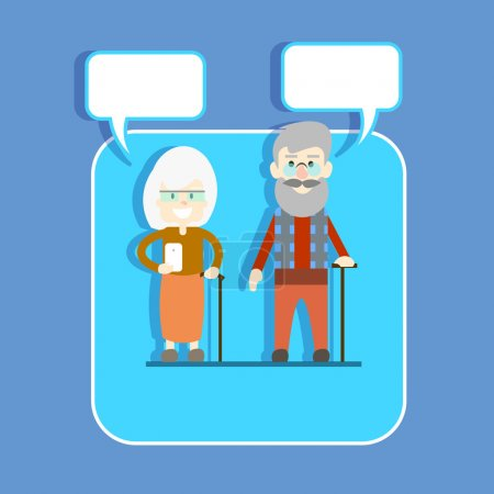 Senior Couple Man Woman With Stick Hold Cell Smart Phone Chat Bubble Modern Network Communication Concept
