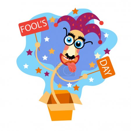Illustration for Fool Day Comic Crazy Clown Head In Surprise Box April Holiday Greeting Card Banner Flat Vector Illustration - Royalty Free Image