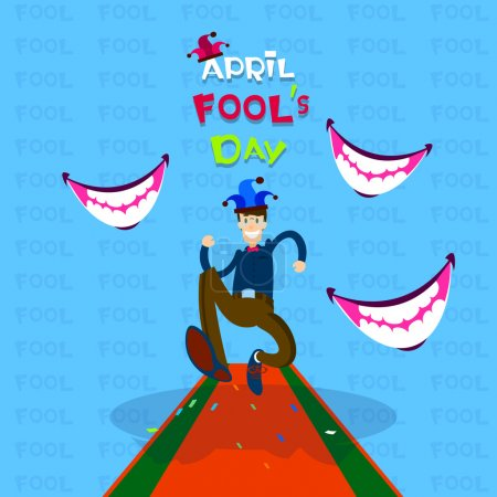 Illustration for Man Wear Jester Running, Smiling Mouth, First April Fool Day Happy Holiday Flat Vector Illustration - Royalty Free Image