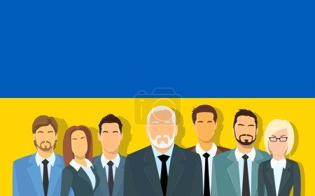 Senior Businessmen Group of Business People Team Over Ukrainian Flag