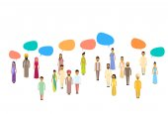 Indické lidé skupiny Chat bubliny komunikační koncept, Indie dav mluví sociální síť
