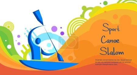 Illustration for Canoe Slalom Athlete Sport Game Competition Flat Vector Illustration - Royalty Free Image