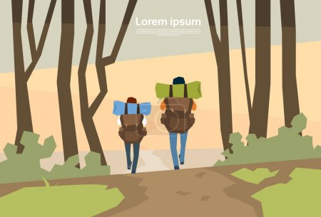 Illustration for Traveler Couple Hikers With Rucksack Rear View Nature Background Vector Illustration - Royalty Free Image