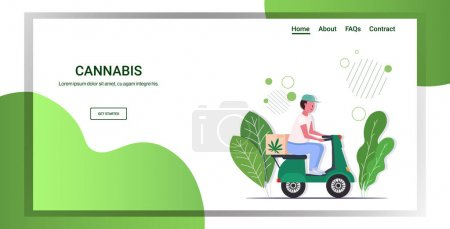 Illustration for Courier man riding scooter medical marijuana cannabis delivery service drug consumption concept horizontal full length copy space vector illustration - Royalty Free Image