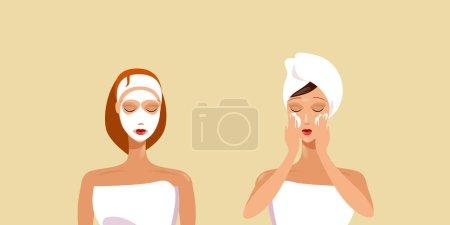 Illustration pour Jeunes femmes appliquant des masques faciaux filles enveloppées dans une serviette soins du visage spa traitement du visage concept portrait illustration vectorielle horizontale - image libre de droit