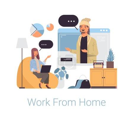 Illustration pour Femme pigiste à l'aide d'un ordinateur portable faisant appel vidéo à un collègue masculin travaillant à la maison coronavirus quarantaine auto-isolement concept freelance pleine longueur vectoriel illustration - image libre de droit