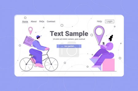 Illustration for Courier on bicycle delivering food or parcel to woman customer online delivery service concept horizontal copy space full length vector illustration - Royalty Free Image