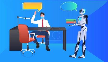 Illustration pour Robot moderne aidant donner des documents à l'homme d'affaires intelligence artificielle technologie chat bulle communication concept horizontal pleine longueur vectoriel illustration - image libre de droit