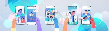 Illustration pour Patients discutant avec des médecins sur des écrans de smartphone lors d'un appel vidéo consultation en ligne médecine concept de santé illustration vectorielle horizontale - image libre de droit