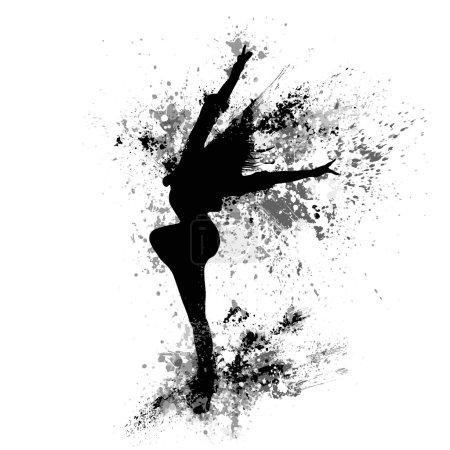 Splash paint silhouette of dancing girl