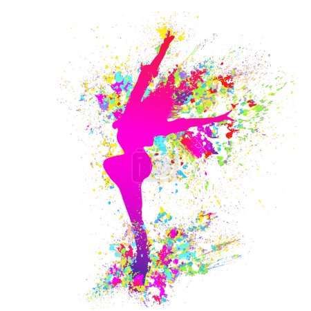 Splash paint silhouette of dancing girl