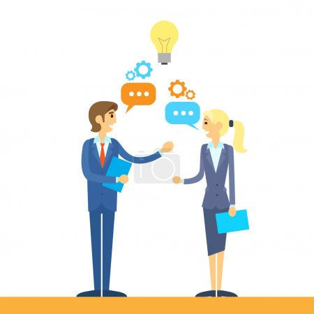 Illustration pour Discuter design plat de l'idée de parler des gens d'affaires vector illustration - image libre de droit