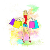 Woman with shopping  bags over colorful background