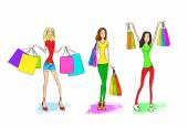 Woman with shopping  bags set
