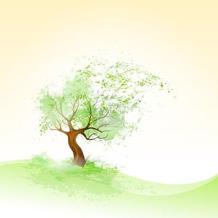 Illustration pour Arbre vert avec feuilles soufflant sur le vent - image libre de droit
